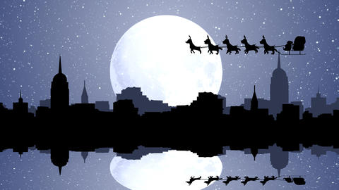 Flying Santa sleigh by reindeer over City with Reflection in water After Effects Template