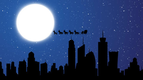 Skyscraper buildings with Flying Santa sleigh by reindeer over city After Effectsテンプレート