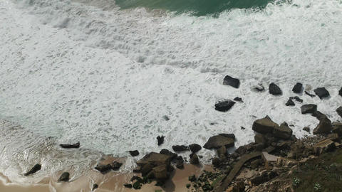 Beach with Waves in Nazare, Portugal Footage