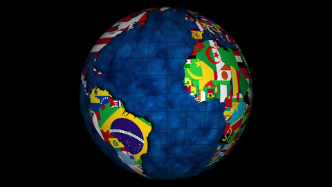 Globe with oceans and with the countries and their national flags rotating Animation