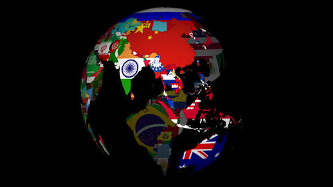 4K, Globe with countries and their national flags Animation