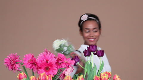 Young woman choosing flowers Footage