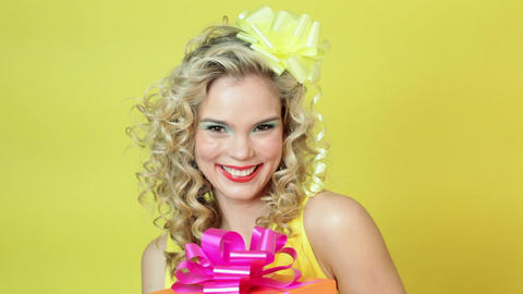 Young woman with gift Stock Video Footage