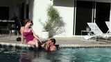 Couple in outdoor swimming pool Footage