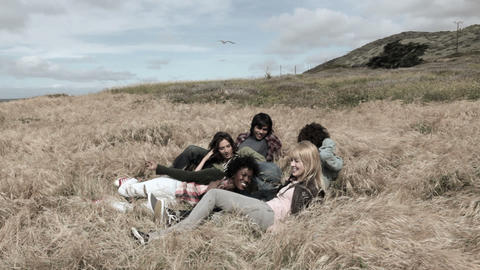 Group of young friends relaxing in field Stock Video Footage