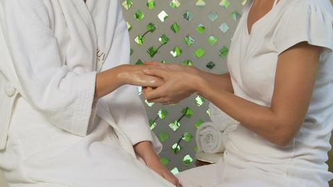 Woman having a hand massage Stock Video Footage