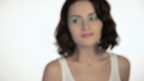 Young woman moving towards camera and smiling Stock Video Footage