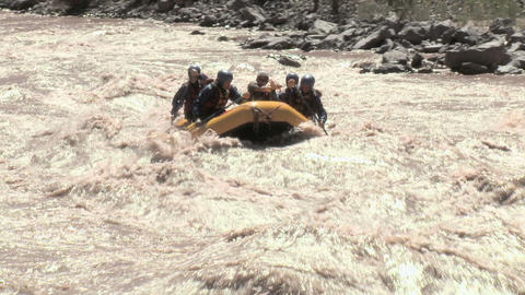 Group of people white water rafting Stock Video Footage