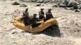 Group of people white water rafting Footage