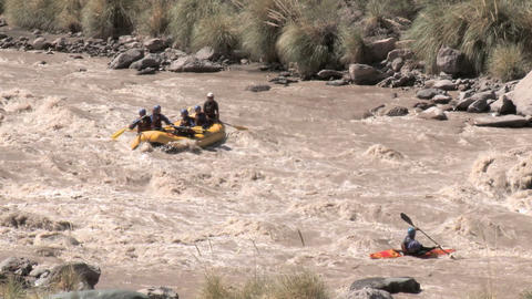 White water rafting and kayaking Stock Video Footage