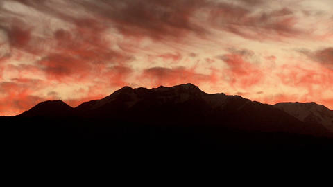 Sunset sky over mountains, zoom out Stock Video Footage