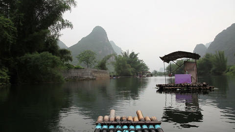 China, yangshuo, raft traveling on yulong river Live Action
