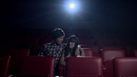 Young couple watching movie at the movie theater Stock Video Footage
