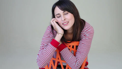 Teenage girl on phone call, laughing Stock Video Footage