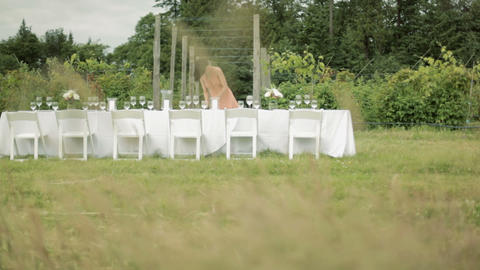 Woman setting table for dinner party on a farm Stock Video Footage