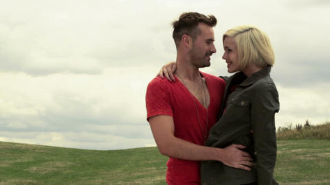 Young couple in rural scene Stock Video Footage