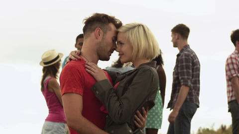 Young couple at a festival Stock Video Footage