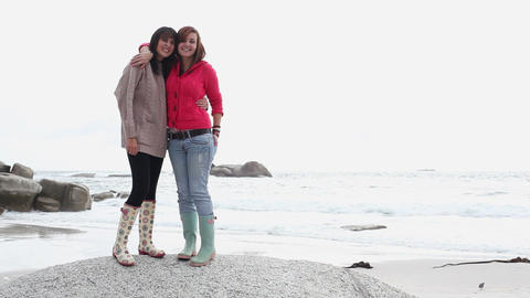 Two girls on the beach Stock Video Footage