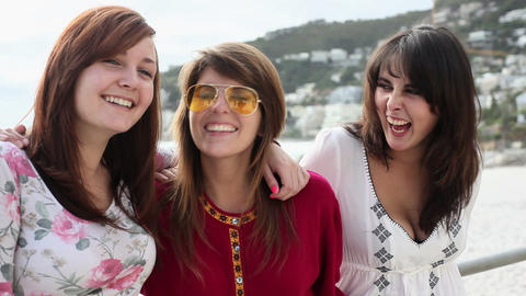 Three girls laughing Stock Video Footage