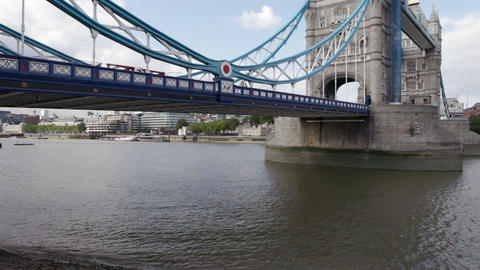 Tower bridge and River Thames, London Stock Video Footage