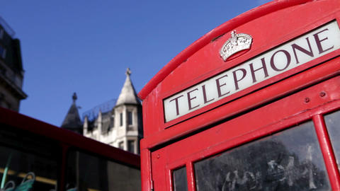 Red telephone box, London Stock Video Footage