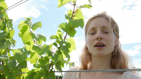 Woman inspecting vines in vineyard and smiling Stock Video Footage