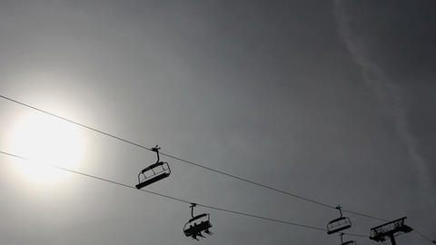 Ski lifts in ski resort Stock Video Footage