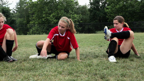 Girl soccer players doing warm up Footage