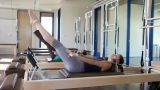 Two women doing pilates Footage