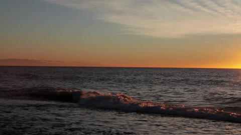Seascape at sunset, Marbella, Spain Stock Video Footage