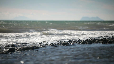 Seascape, Marbella, Spain with view of Gibraltar and... Stock Video Footage