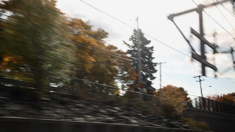 View from train as it passes along tracks Stock Video Footage