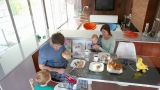 Family eating breakfast Footage