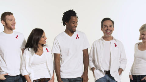 People wearing aids awareness ribbons Stock Video Footage