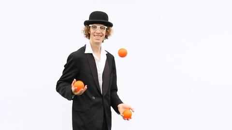 artist skill perform juggle show throw balls clown... Stock Video Footage