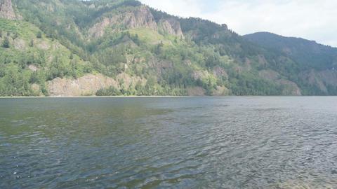 Mountainous coast of the river Yenisei 02 Stock Video Footage
