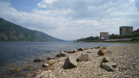 Town Divnogorsk on the River Yenisei Stock Video Footage