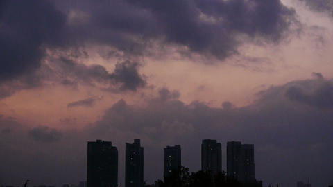 Dark clouds cover sky at evening,building high-rise,House... Stock Video Footage