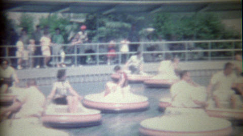 1962: Disneyland flying saucer ride iconic early Disney showcasing innovation in Footage