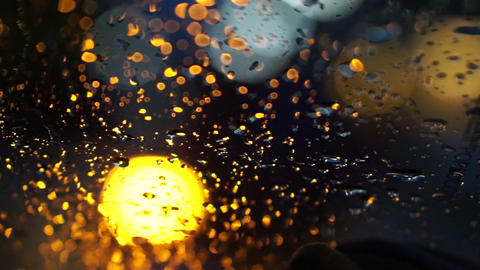 abstract blur traffic lighting in the rain with bokeh Footage