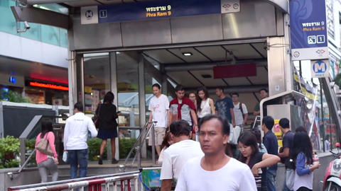 Commuter at metro, underground train station entrance at Bangkok Footage