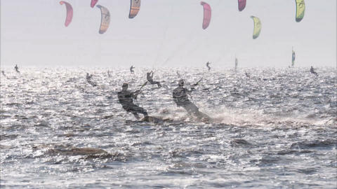 Impressions Of The Kitesurf World Cup In St. Peter-Ording, Germany, August 21-30 stock footage