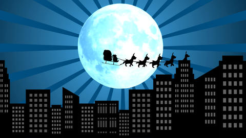 Moon Rays with Flying Santa sleigh by reindeer over city After Effects Template