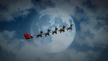 Flying Santa sleigh by reindeer at night moon closeup After Effects Project