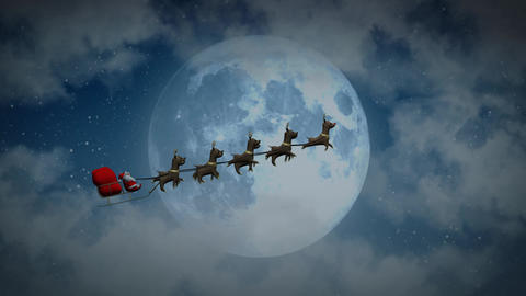 Flying Santa sleigh by reindeer at night moon closeup After Effects Template