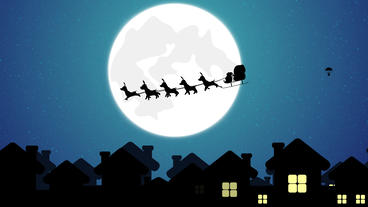 Santa distributing Gifts and Flying Santa sleigh by reindeer over town After Effects Template