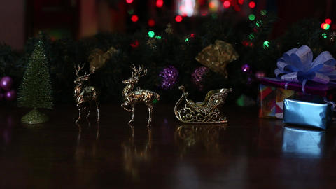 Full New Year 's Deer Sledge Movement Slow Blinking Of No Post Production 2 stock footage