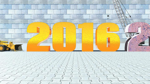 New Year 2016 replaces old 2015 on construction background Animation