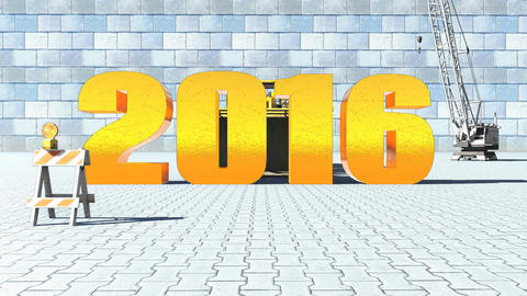 2016 replaces 2015 on construction background Animation
