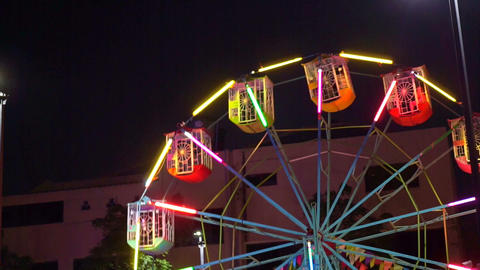 Ferris Wheel Carnival Ride at Night Footage